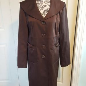 Nine West Brown Long Coat L Trench Pockets Buttons